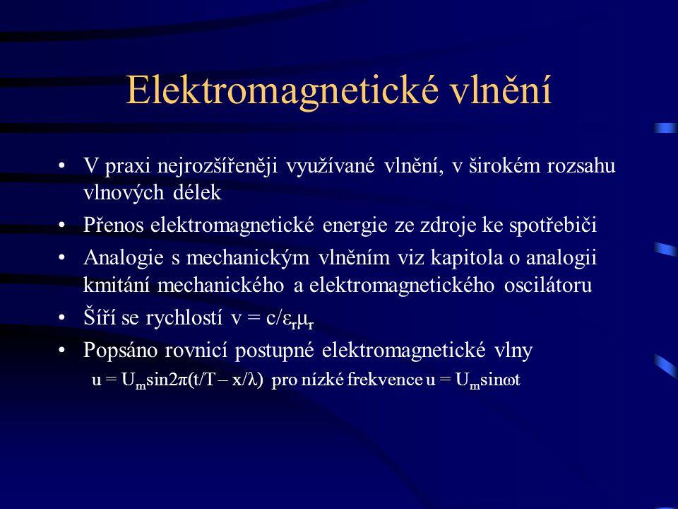 Elektromagnetické vlnění V praxi nejrozšířeněji využívané vlnění, v širokém rozsahu vlnových délek Přenos elektromagnetické energie ze zdroje ke spotř