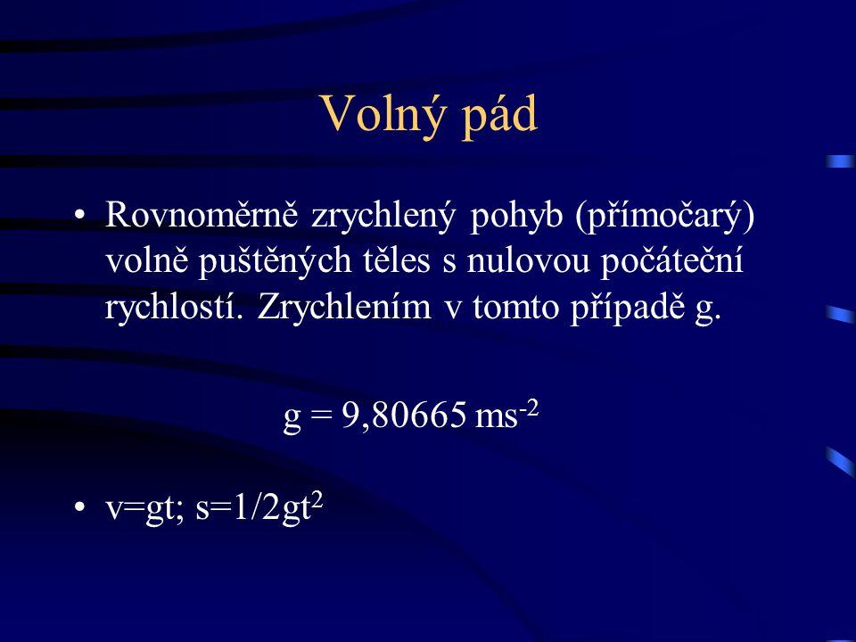 Volný pád Rovnoměrně zrychlený pohyb (přímočarý) volně puštěných těles s nulovou počáteční rychlostí. Zrychlením v tomto případě g. g = 9,80665 ms -2