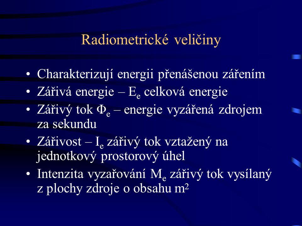Radiometrické veličiny Charakterizují energii přenášenou zářením Zářivá energie – E e celková energie Zářivý tok Φ e – energie vyzářená zdrojem za sek