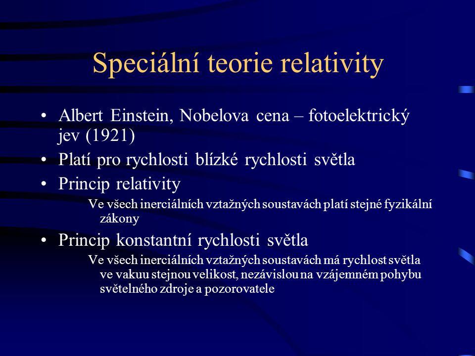 Speciální teorie relativity Albert Einstein, Nobelova cena – fotoelektrický jev (1921) Platí pro rychlosti blízké rychlosti světla Princip relativity