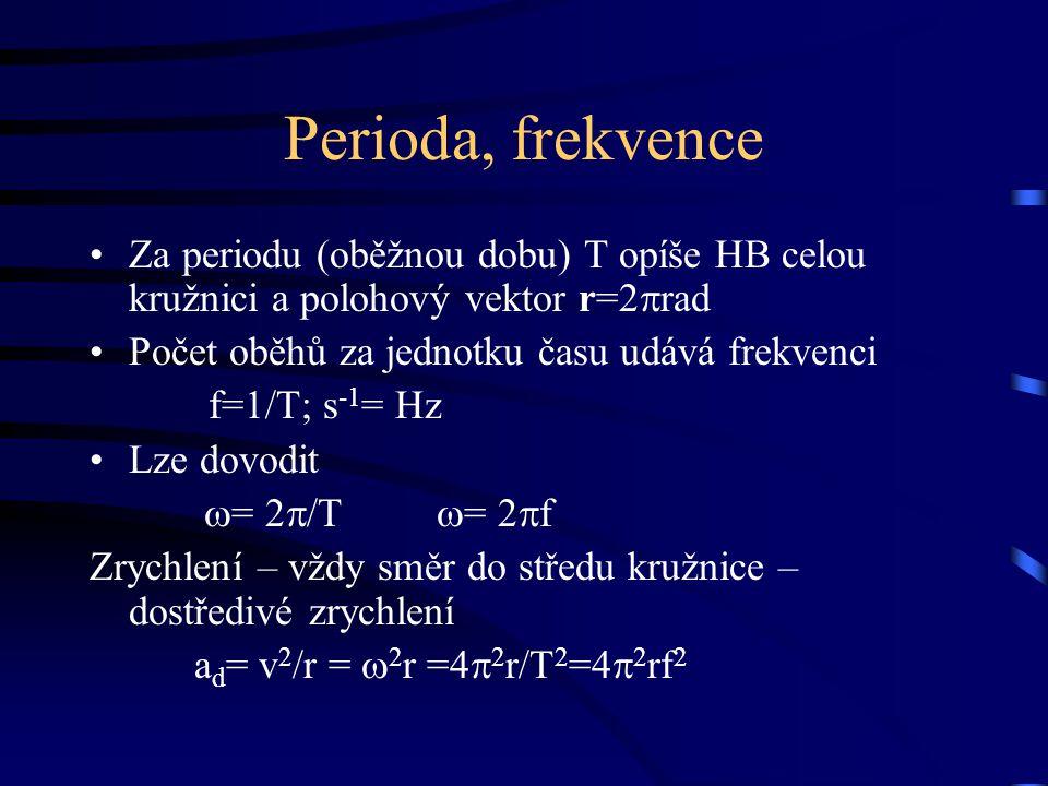 Perioda, frekvence Za periodu (oběžnou dobu) T opíše HB celou kružnici a polohový vektor r=2  rad Počet oběhů za jednotku času udává frekvenci f=1/T;