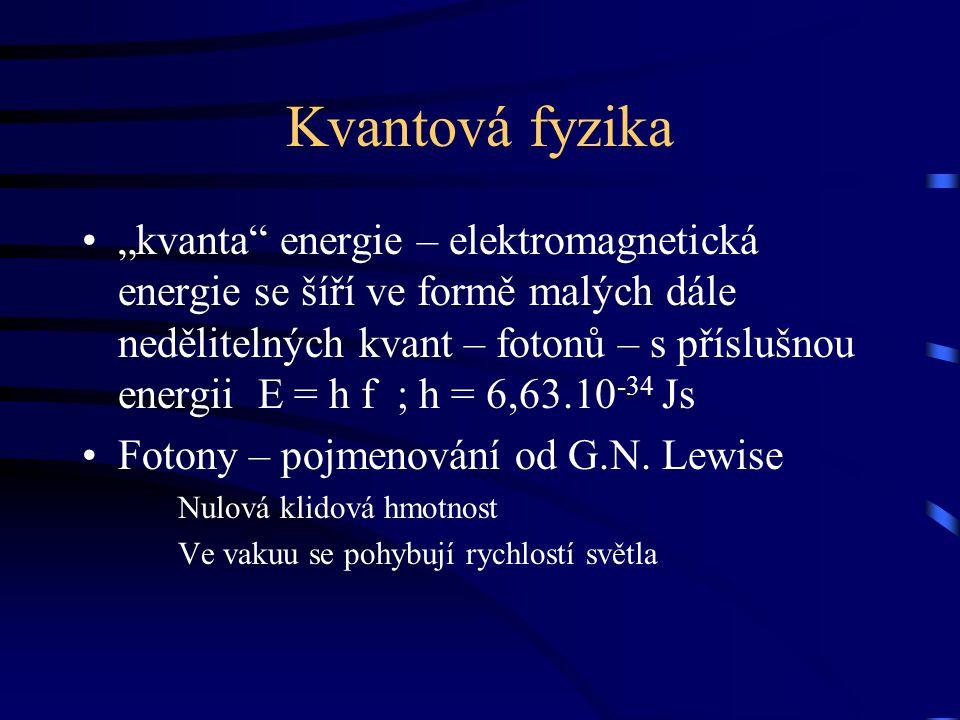 """Kvantová fyzika """"kvanta"""" energie – elektromagnetická energie se šíří ve formě malých dále nedělitelných kvant – fotonů – s příslušnou energii E = h f"""