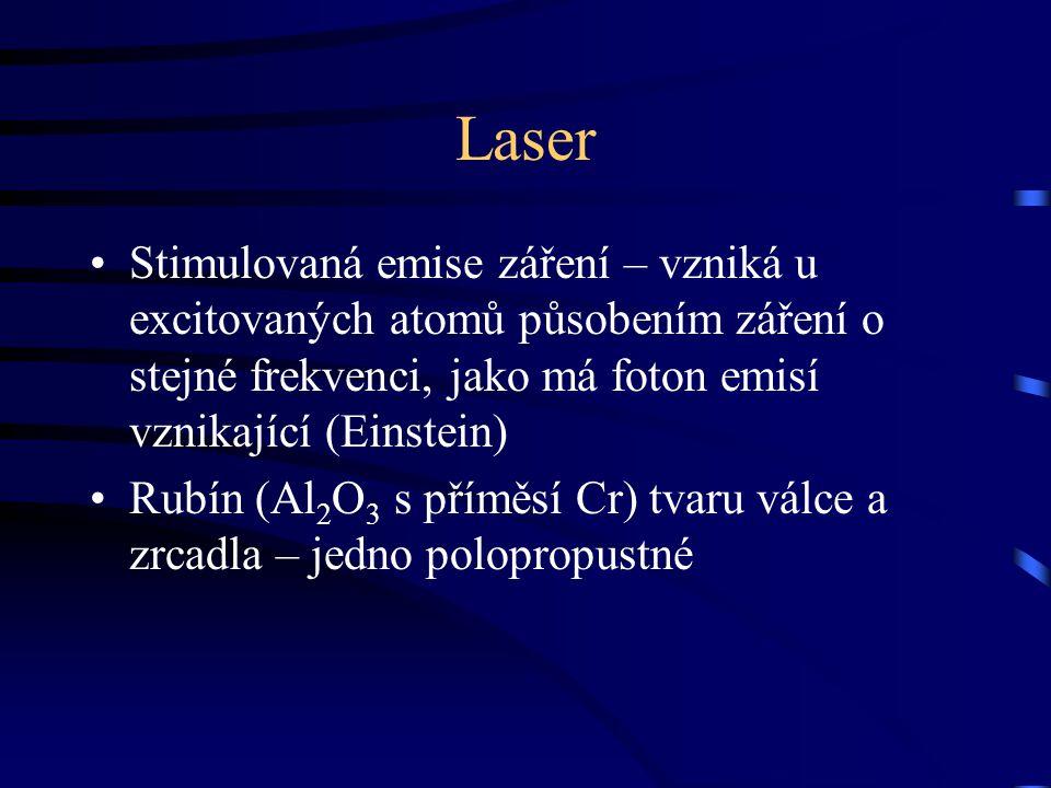 Laser Stimulovaná emise záření – vzniká u excitovaných atomů působením záření o stejné frekvenci, jako má foton emisí vznikající (Einstein) Rubín (Al