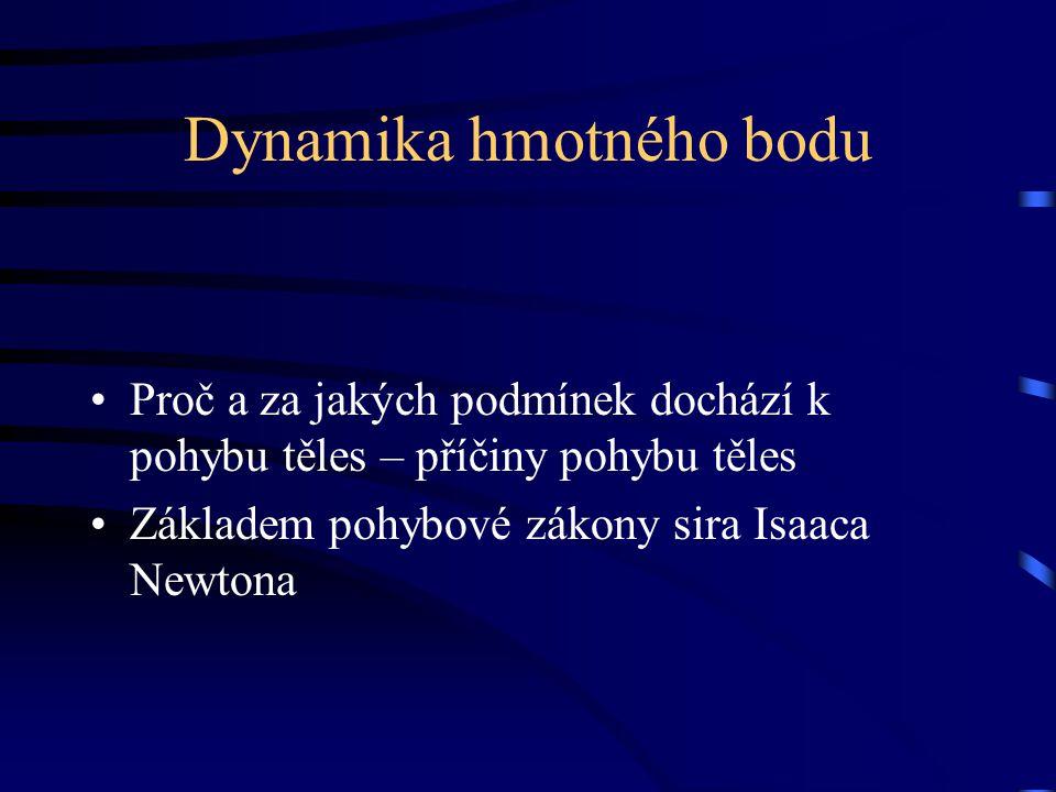 Dynamika hmotného bodu Proč a za jakých podmínek dochází k pohybu těles – příčiny pohybu těles Základem pohybové zákony sira Isaaca Newtona