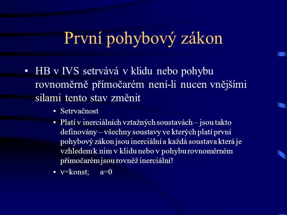 První pohybový zákon HB v IVS setrvává v klidu nebo pohybu rovnoměrně přímočarém není-li nucen vnějšími silami tento stav změnit Setrvačnost Platí v i