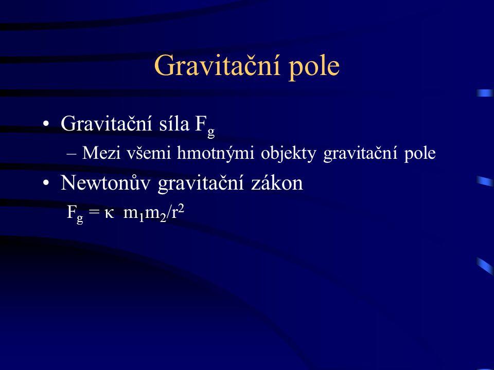 Gravitační pole Gravitační síla F g –Mezi všemi hmotnými objekty gravitační pole Newtonův gravitační zákon F g = κ m 1 m 2 /r 2