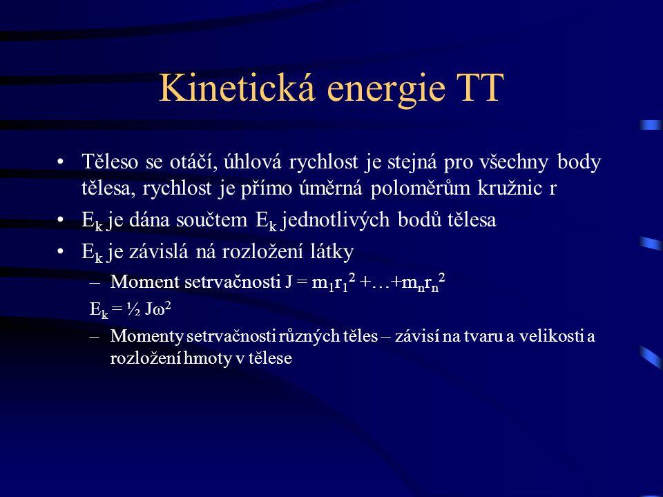 Kinetická energie TT Těleso se otáčí, úhlová rychlost je stejná pro všechny body tělesa, rychlost je přímo úměrná poloměrům kružnic r E k je dána souč