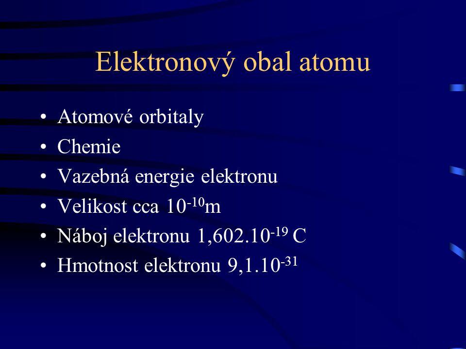 Elektronový obal atomu Atomové orbitaly Chemie Vazebná energie elektronu Velikost cca 10 -10 m Náboj elektronu 1,602.10 -19 C Hmotnost elektronu 9,1.1