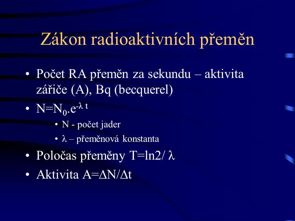 Zákon radioaktivních přeměn Počet RA přeměn za sekundu – aktivita zářiče (A), Bq (becquerel) N=N 0.e -λ t N - počet jader λ – přeměnová konstanta Polo