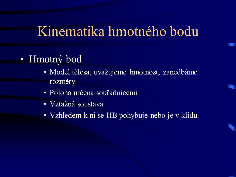 Kinematika hmotného bodu Hmotný bod Model tělesa, uvažujeme hmotnost, zanedbáme rozměry Poloha určena souřadnicemi Vztažná soustava Vzhledem k ní se H