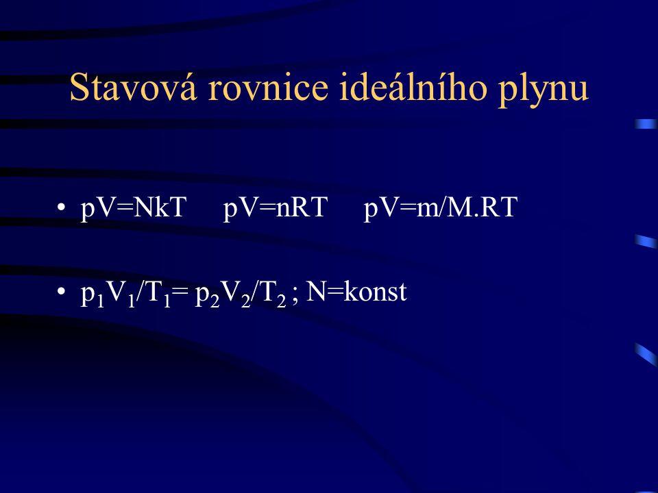 Stavová rovnice ideálního plynu pV=NkT pV=nRT pV=m/M.RT p 1 V 1 /T 1 = p 2 V 2 /T 2 ; N=konst