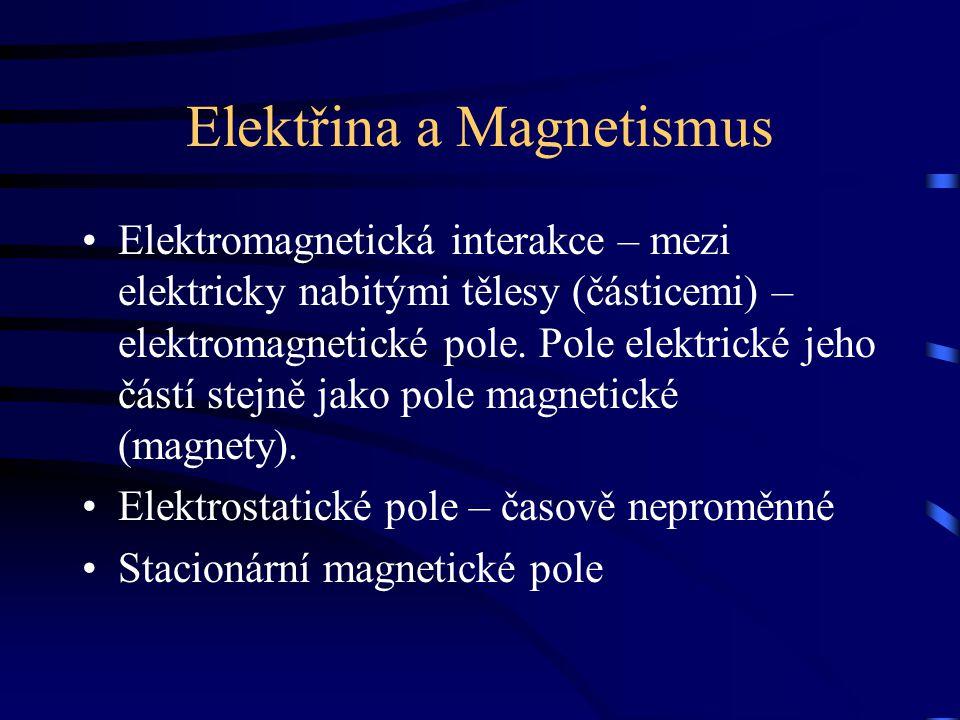 Elektřina a Magnetismus Elektromagnetická interakce – mezi elektricky nabitými tělesy (částicemi) – elektromagnetické pole. Pole elektrické jeho částí