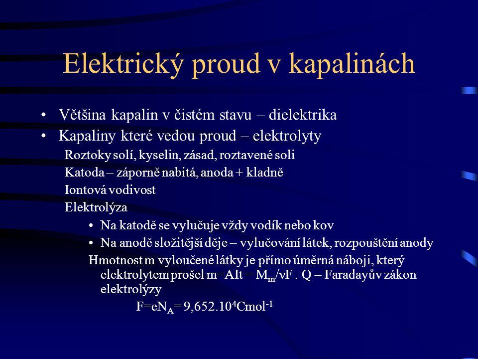 Elektrický proud v kapalinách Většina kapalin v čistém stavu – dielektrika Kapaliny které vedou proud – elektrolyty Roztoky solí, kyselin, zásad, rozt
