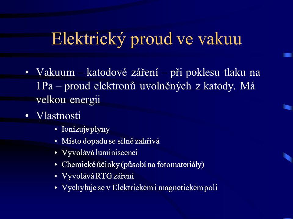 Elektrický proud ve vakuu Vakuum – katodové záření – při poklesu tlaku na 1Pa – proud elektronů uvolněných z katody. Má velkou energii Vlastnosti Ioni