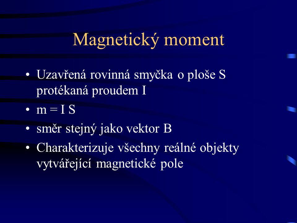 Magnetický moment Uzavřená rovinná smyčka o ploše S protékaná proudem I m = I S směr stejný jako vektor B Charakterizuje všechny reálné objekty vytvář