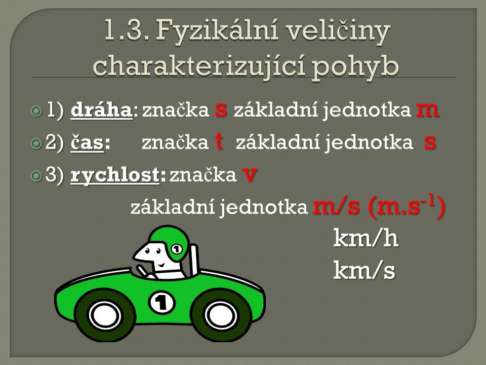  1) dráha sm  1) dráha: zna č ka s základní jednotka m  2) č as ts  2) č as: zna č ka t základní jednotka s  3) rychlost v  3) rychlost: zna č ka v m/s (m.s -1 ) základní jednotka m/s (m.s -1 ) km/h km/s