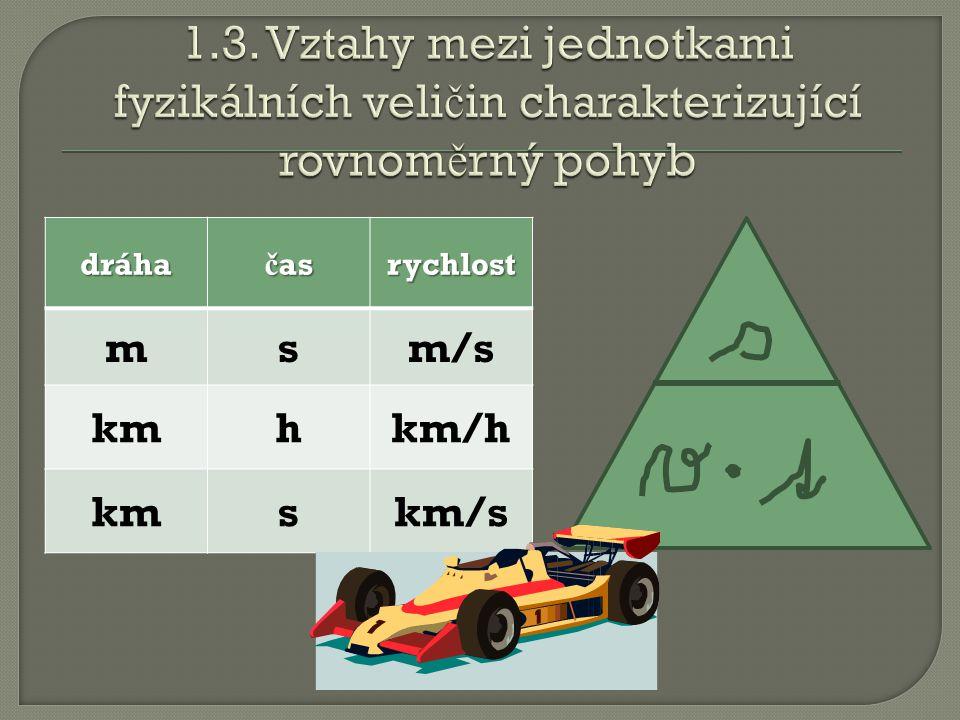 dráha č as rychlost msm/s kmhkm/h kmskm/s