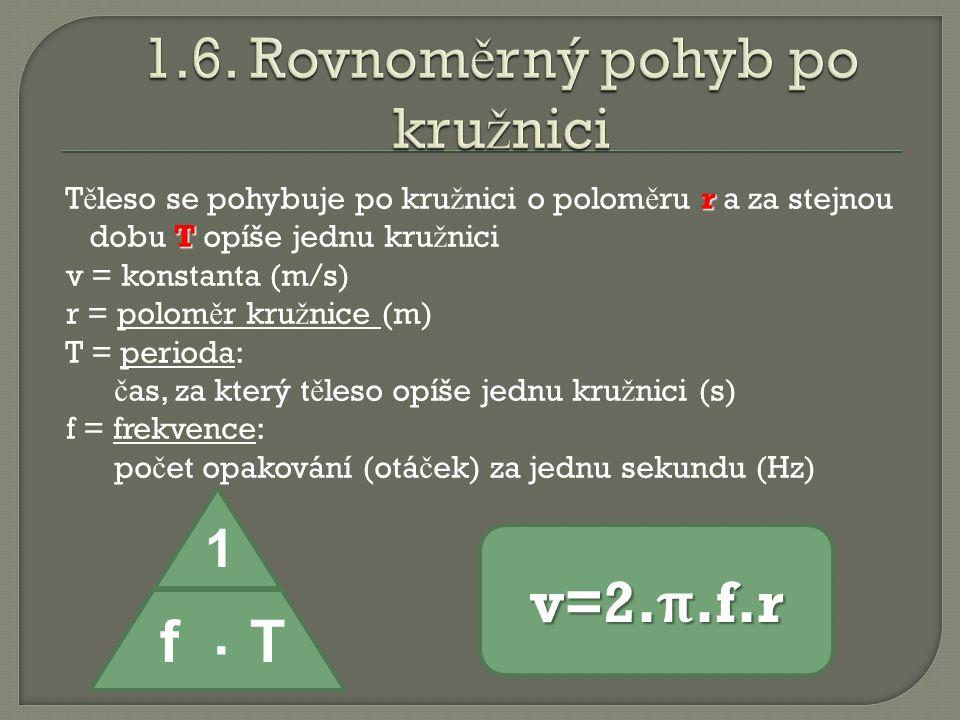 r T T ě leso se pohybuje po kru ž nici o polom ě ru r a za stejnou dobu T opíše jednu kru ž nici v = konstanta (m/s) r = polom ě r kru ž nice (m) r = polom ě r kru ž nice (m) T = perioda T = perioda: č as, za který t ě leso opíše jednu kru ž nici (s) f = frekvence f = frekvence: po č et opakování (otá č ek) za jednu sekundu (Hz) 1 f.