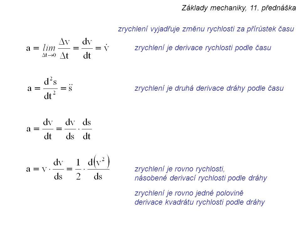 zrychlení vyjadřuje změnu rychlosti za přírůstek času zrychlení je derivace rychlosti podle času zrychlení je druhá derivace dráhy podle času zrychlení je rovno rychlosti, násobené derivací rychlosti podle dráhy zrychlení je rovno jedné polovině derivace kvadrátu rychlosti podle dráhy Základy mechaniky, 11.