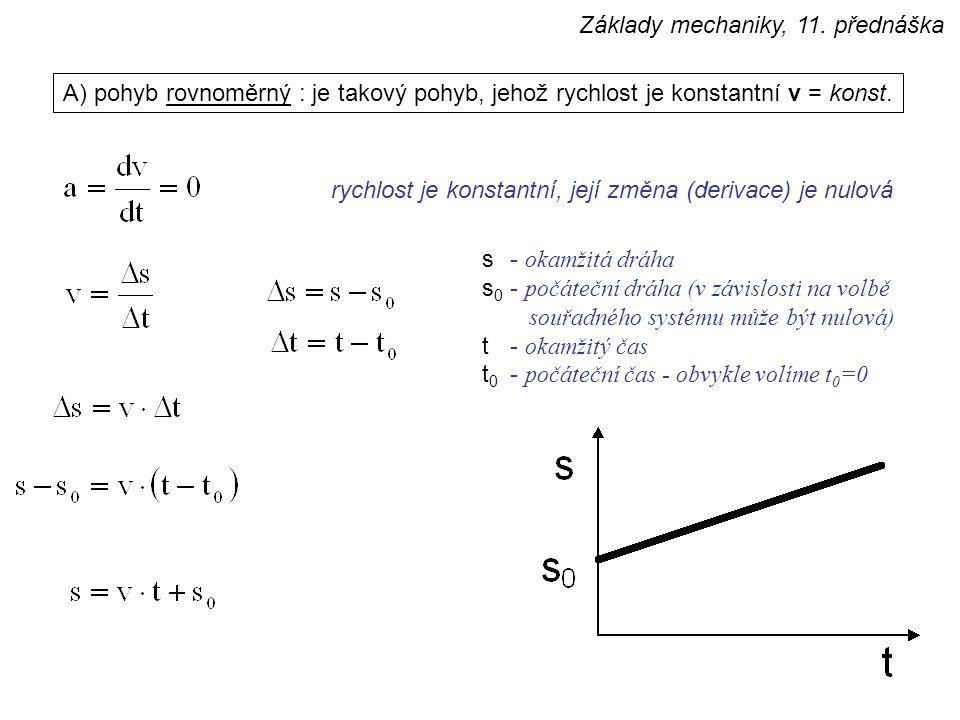 A) pohyb rovnoměrný : je takový pohyb, jehož rychlost je konstantní v = konst.