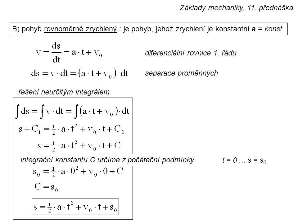 B) pohyb rovnoměrně zrychlený : je pohyb, jehož zrychlení je konstantní a = konst.