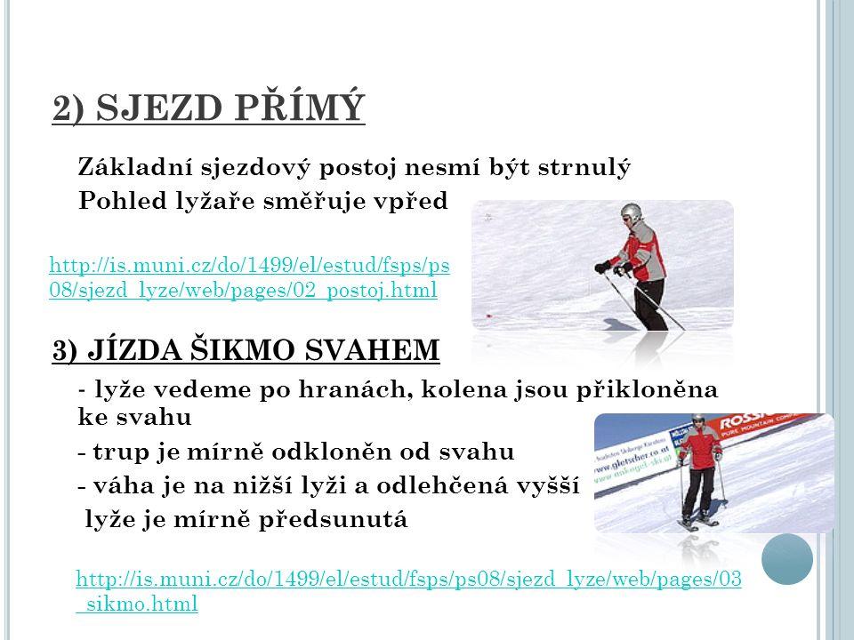 4) Z POMALOVÁNÍ JÍZDY Oboustranný přívrat (pluh) Obě lyže jsou rovnoměrně zatížené a vedené na vnitřních hranách Při zahranění dochází k výraznějšímu brzdění Při zatížení jedné nohy zatáčejí na opačnou stranu 5) ZASTAVENÍ BEZPEČNÝM PÁDEM - z jízdy po spádnici snižujeme sjezdový postoj až si sedneme na patky lyží nebo mezi ně - postupně se převalíme na bok, paže s holemi máme široce upaženy stranou a bodce holí směřují vzad http://is.muni.cz/do/1499/el/estud/fsps/ps08/sjezd_lyze/web/pages/06_pluh.html http://www.youtube.com/watch?v=TqlKakgQIx4&feature=channel http://www.youtube.com/watch?v=XdaIZNCJD-g&feature=channel