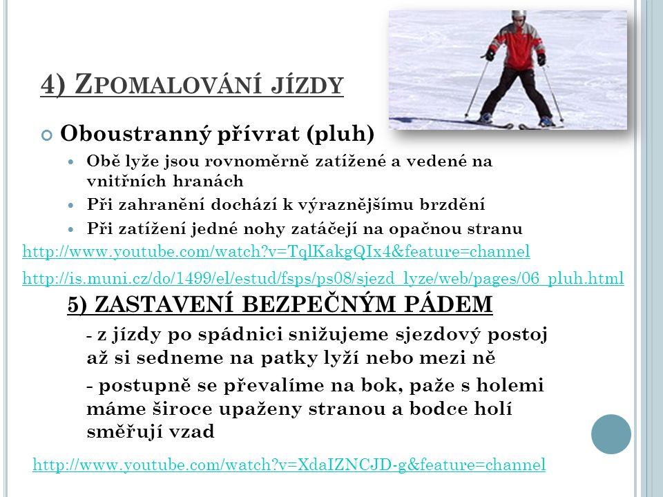 6) OBRATY A) Postupné obraty přešlapováním Opakovaným přívratem : lyžař se otáčí kolem špiček lyží, vždy špičkami dolů a jistíme se holemi před tělem Opakovaným odvratem: lyžař se otáčí kolem patek lyží, vždy špičkami do kopce a jistíme se holemi za tělem Kombinací přívratu a odvratu: Spojení obou předcházející obratů