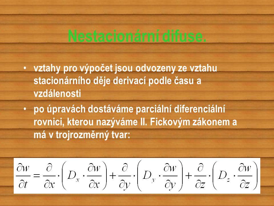 Nestacionární difuse. vztahy pro výpočet jsou odvozeny ze vztahu stacionárního děje derivací podle času a vzdálenosti po úpravách dostáváme parciální