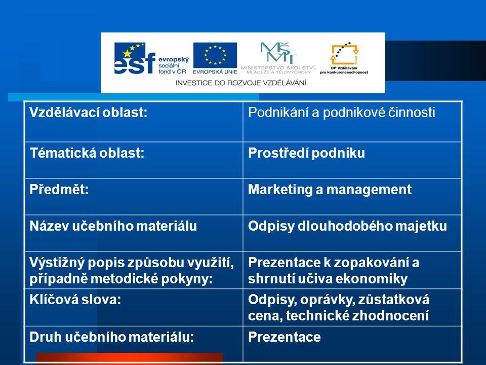 Vzdělávací oblast:Podnikání a podnikové činnosti Tématická oblast:Prostředí podniku Předmět:Marketing a management Název učebního materiáluOdpisy dlou