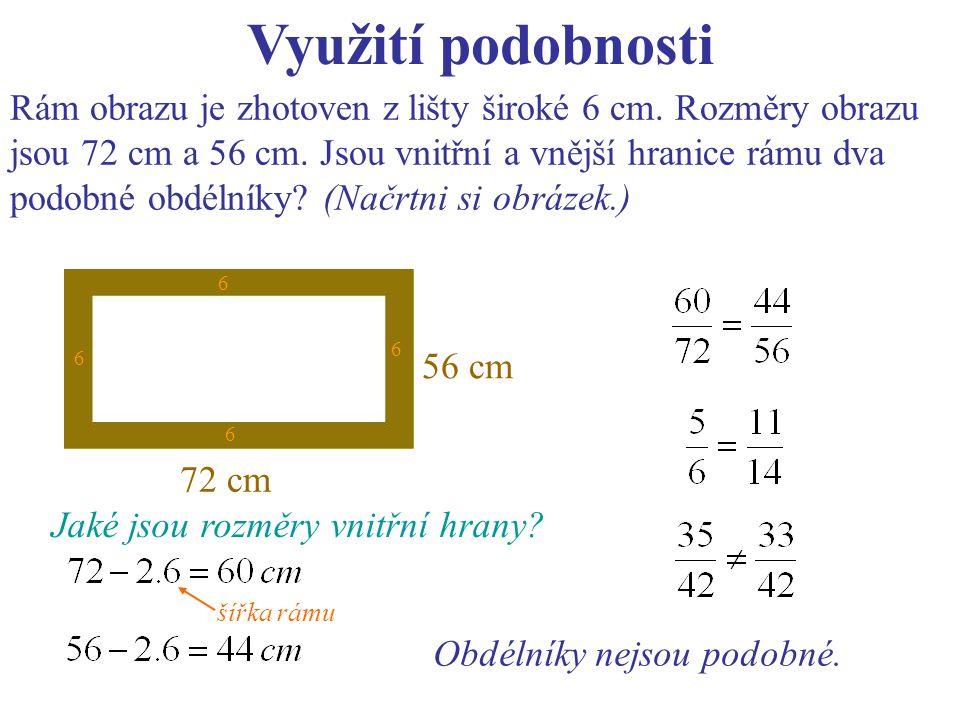 Využití podobnosti Komín neznámé výšky vrhá stín 45 m dlouhý, metrová tyč stojící kolmo k povrchu má stín dlouhý 85 cm.