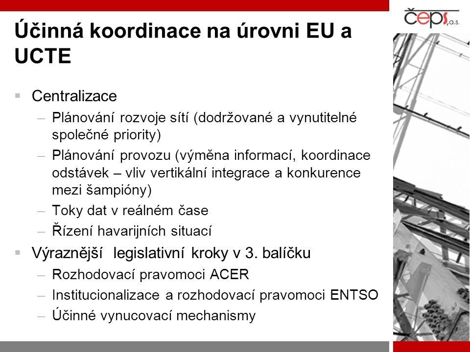 Účinná koordinace na úrovni EU a UCTE  Centralizace –Plánování rozvoje sítí (dodržované a vynutitelné společné priority) –Plánování provozu (výměna i