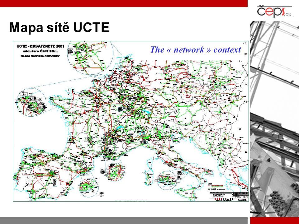 Mapa sítě UCTE
