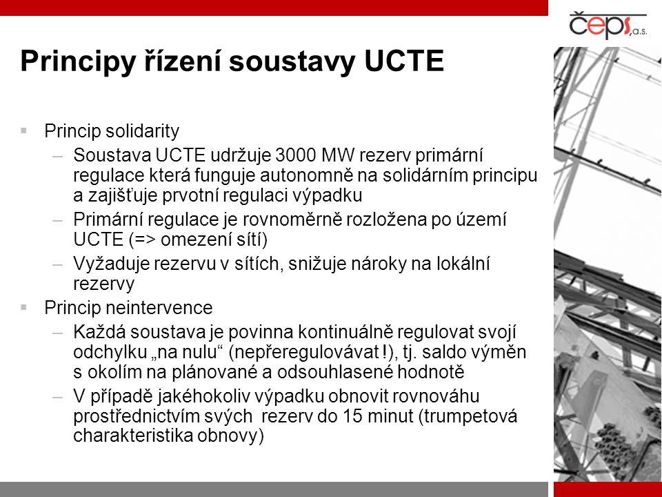 Principy řízení soustavy UCTE  Princip solidarity –Soustava UCTE udržuje 3000 MW rezerv primární regulace která funguje autonomně na solidárním princ