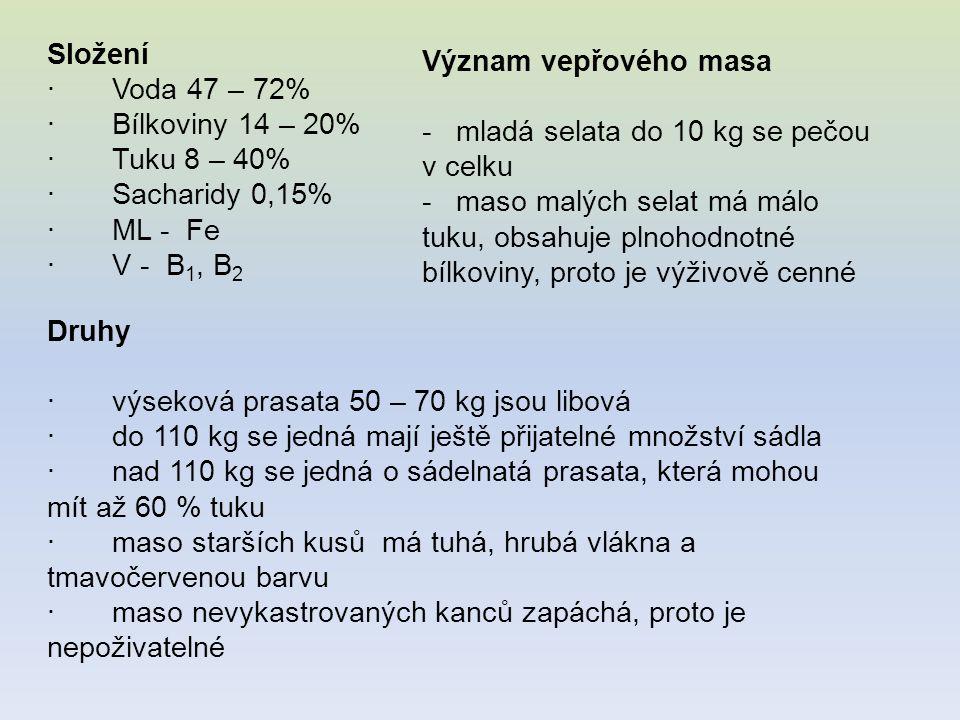 Složení · Voda 47 – 72% · Bílkoviny 14 – 20% · Tuku 8 – 40% · Sacharidy 0,15% · ML - Fe · V - B 1, B 2 Význam vepřového masa - mladá selata do 10 kg s