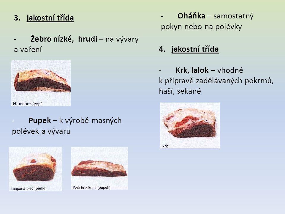 - Klíšky - k přípravě gulášů - Hlava – se používá na úpravu salátů z volské hlavy Toto dělení masa se v obchodech běžně nepoužívá, maso je rozdělené pouze na maso přední s kostí a bez kosti, na maso zadní, svíčkovou a roštěnec.