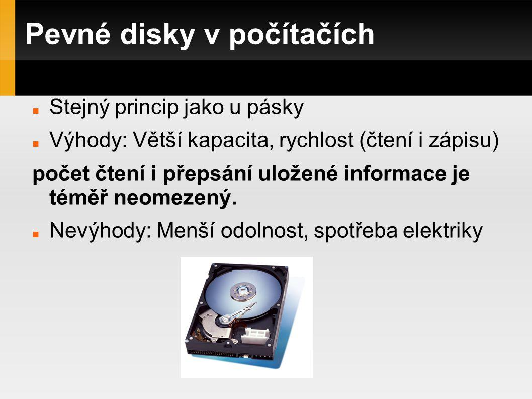 Pevné disky v počítačích Stejný princip jako u pásky Výhody: Větší kapacita, rychlost (čtení i zápisu) počet čtení i přepsání uložené informace je téměř neomezený.