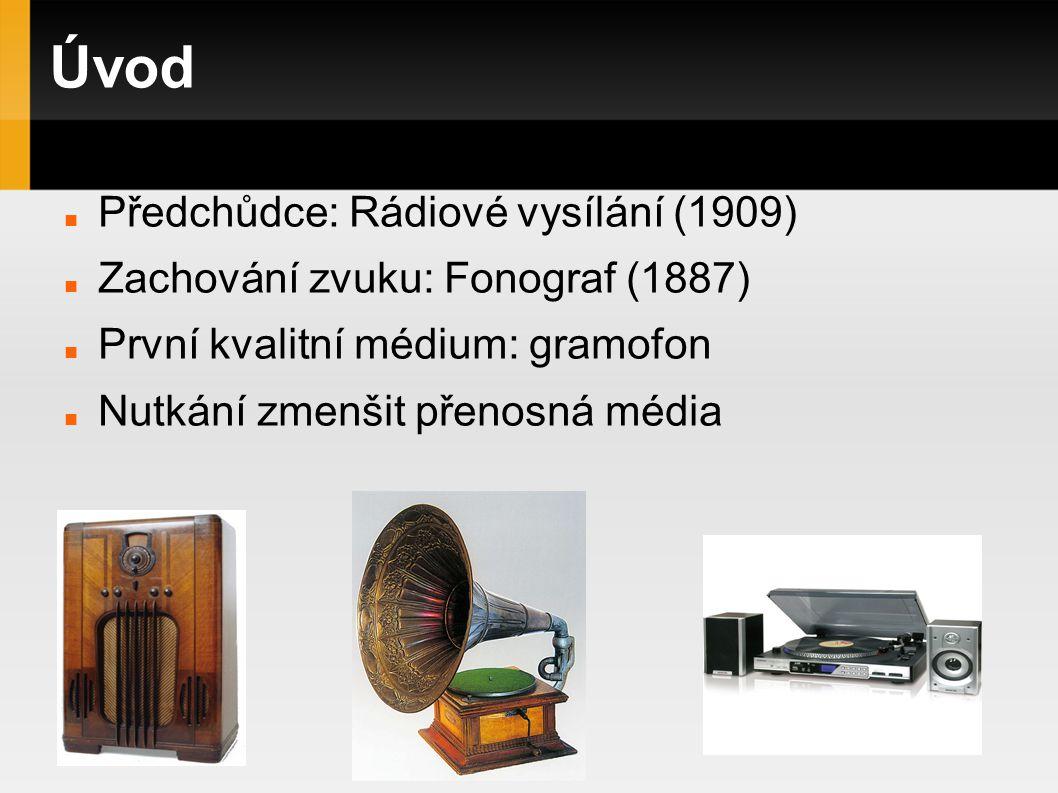 Úvod Předchůdce: Rádiové vysílání (1909) Zachování zvuku: Fonograf (1887) První kvalitní médium: gramofon Nutkání zmenšit přenosná média