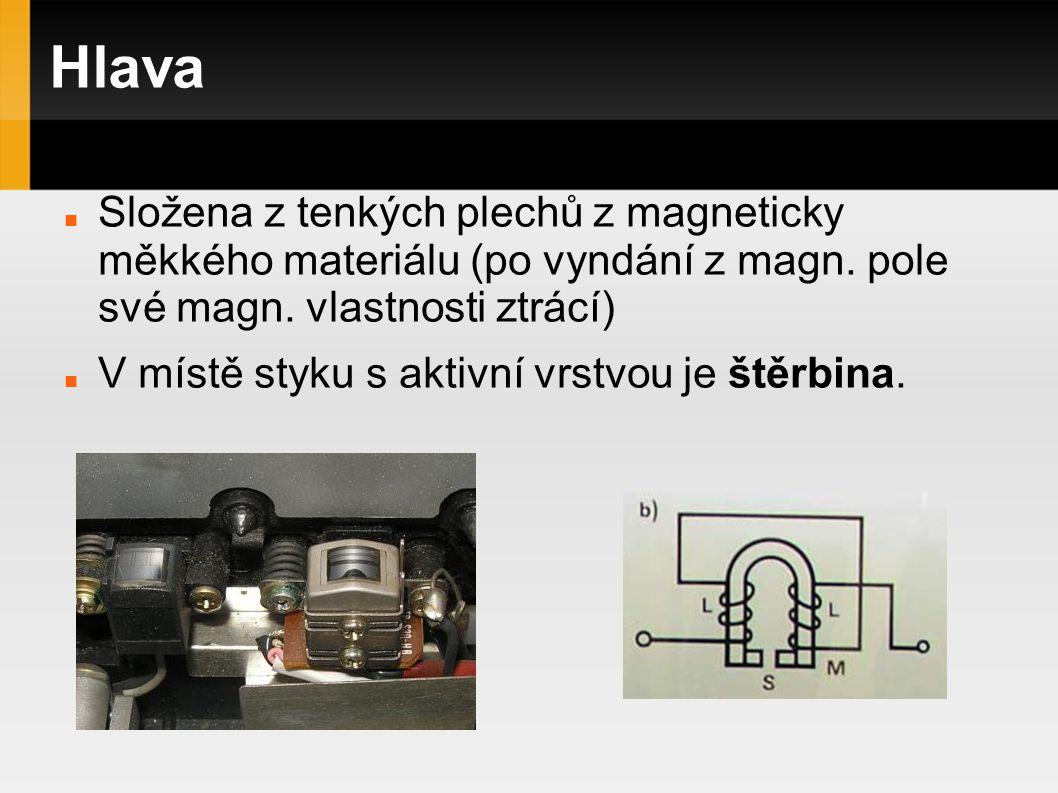 Hlava Složena z tenkých plechů z magneticky měkkého materiálu (po vyndání z magn. pole své magn. vlastnosti ztrácí) V místě styku s aktivní vrstvou je