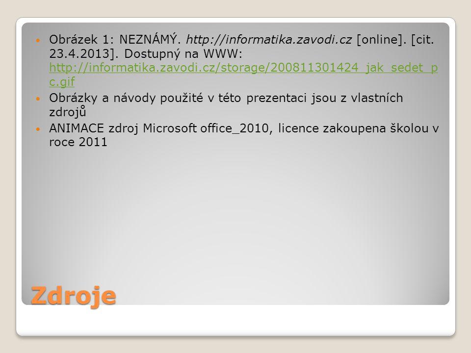 Zdroje Obrázek 1: NEZNÁMÝ. http://informatika.zavodi.cz [online]. [cit. 23.4.2013]. Dostupný na WWW: http://informatika.zavodi.cz/storage/200811301424