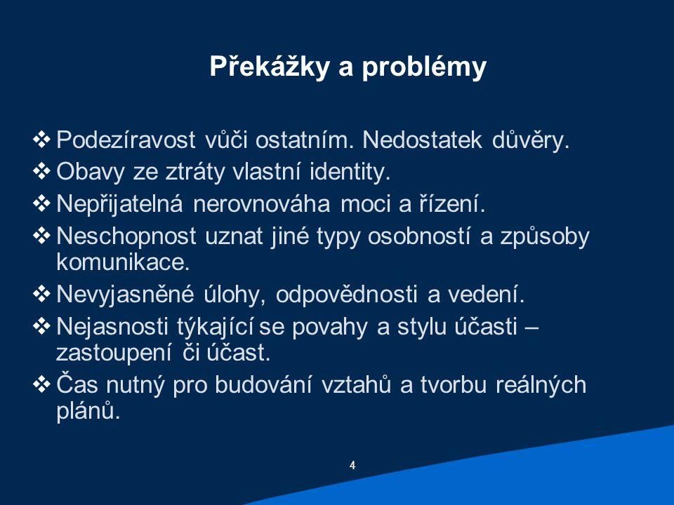 4 Překážky a problémy  Podezíravost vůči ostatním.