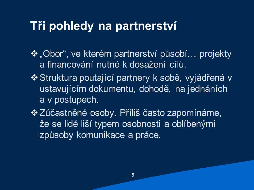 """5 Tři pohledy na partnerství  """"Obor , ve kterém partnerství působí… projekty a financování nutné k dosažení cílů."""