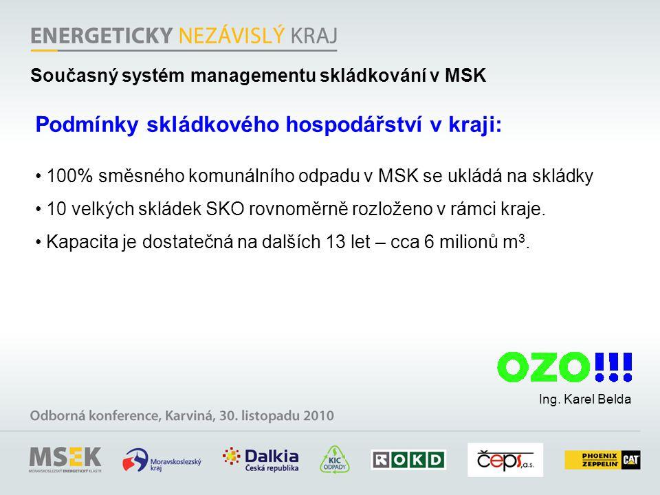 100% směsného komunálního odpadu v MSK se ukládá na skládky 10 velkých skládek SKO rovnoměrně rozloženo v rámci kraje.