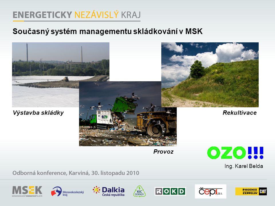 Ing. Karel Belda Výstavba skládky Provoz Rekultivace Současný systém managementu skládkování v MSK