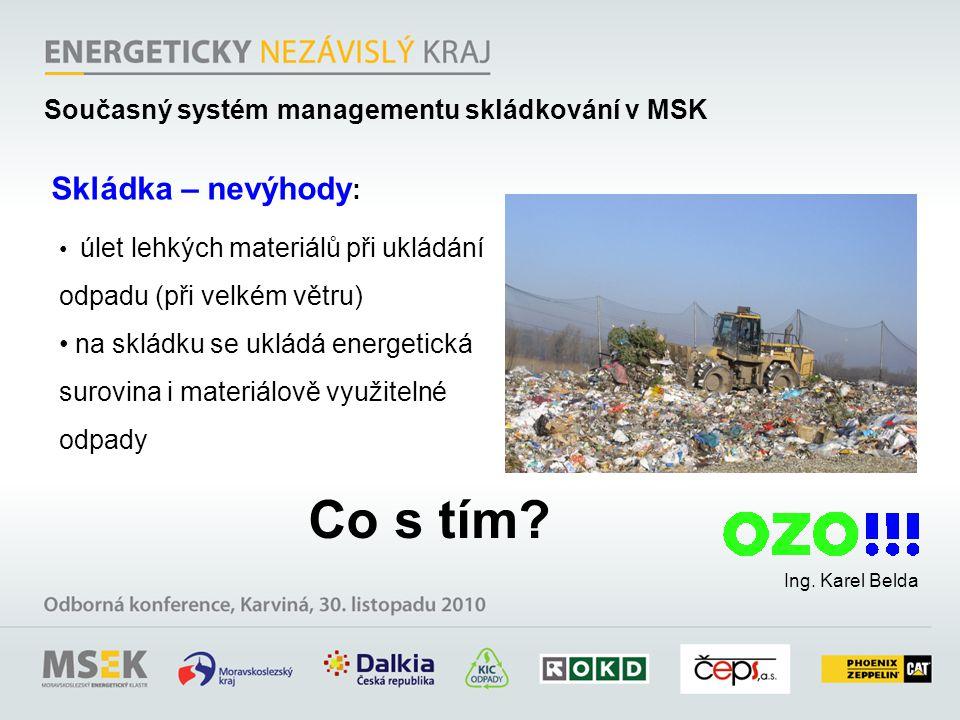 Ing. Karel Belda Skládka – nevýhody : úlet lehkých materiálů při ukládání odpadu (při velkém větru) na skládku se ukládá energetická surovina i materi
