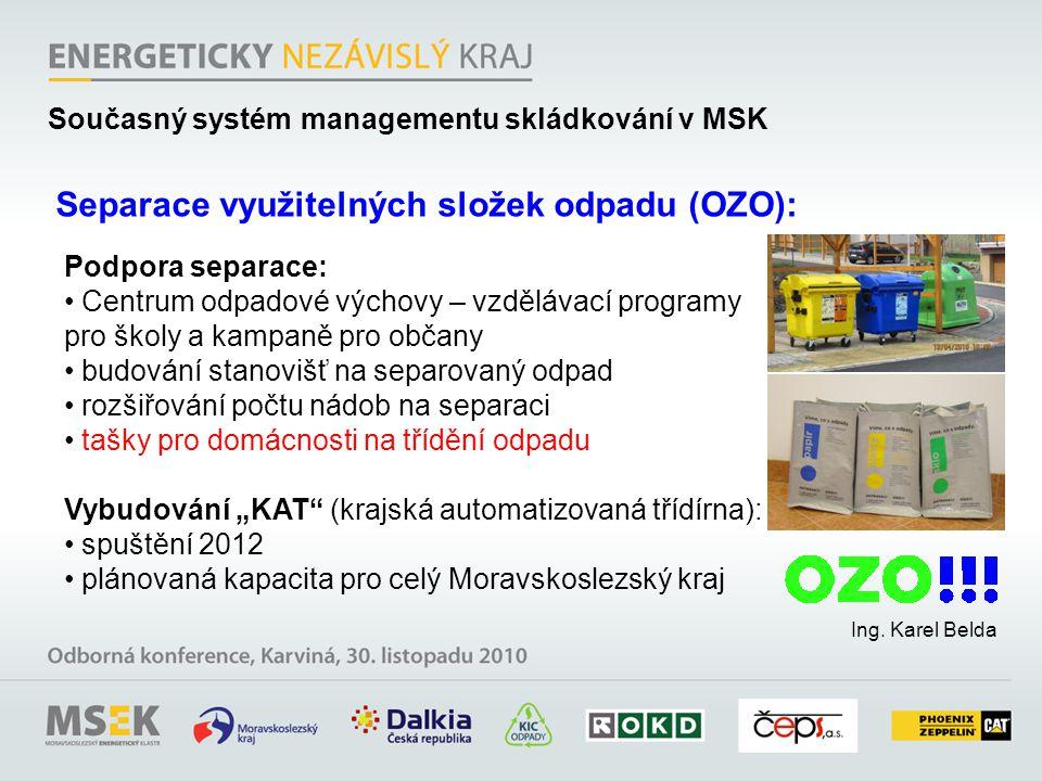 Ing. Karel Belda Separace využitelných složek odpadu (OZO): Podpora separace: Centrum odpadové výchovy – vzdělávací programy pro školy a kampaně pro o