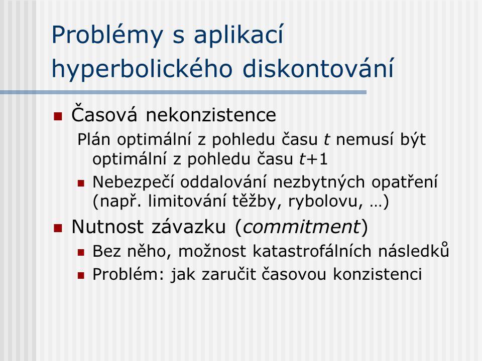 Problémy s aplikací hyperbolického diskontování Časová nekonzistence Plán optimální z pohledu času t nemusí být optimální z pohledu času t+1 Nebezpečí