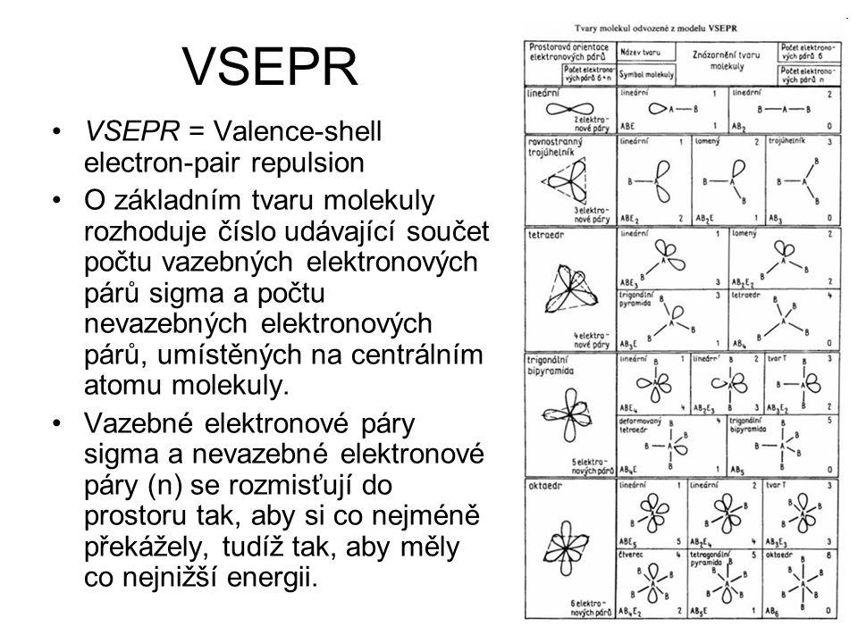 VSEPR VSEPR = Valence-shell electron-pair repulsion O základním tvaru molekuly rozhoduje číslo udávající součet počtu vazebných elektronových párů sigma a počtu nevazebných elektronových párů, umístěných na centrálním atomu molekuly.
