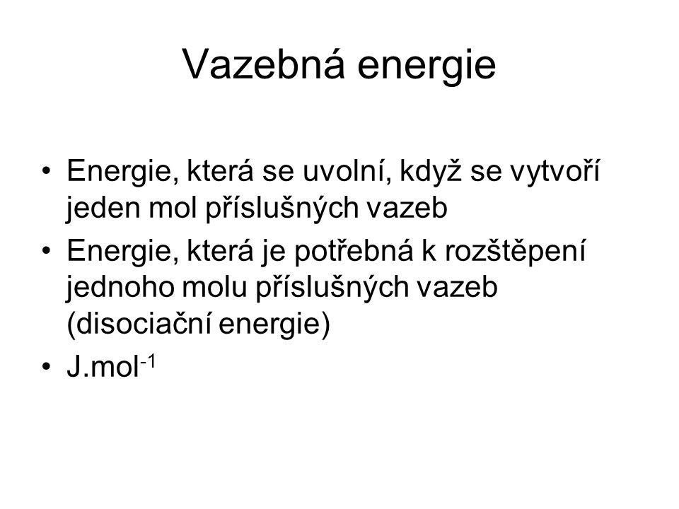 Vazebná energie Energie, která se uvolní, když se vytvoří jeden mol příslušných vazeb Energie, která je potřebná k rozštěpení jednoho molu příslušných vazeb (disociační energie) J.mol -1