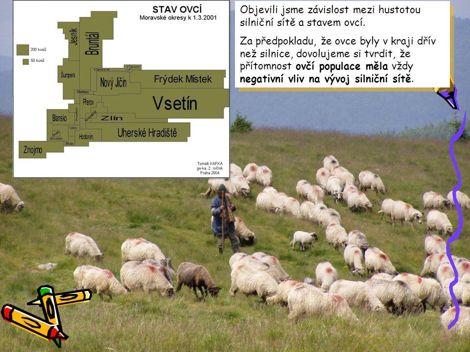 Objevili jsme závislost mezi hustotou silniční sítě a stavem ovcí. Za předpokladu, že ovce byly v kraji dřív než silnice, dovolujeme si tvrdit, že pří