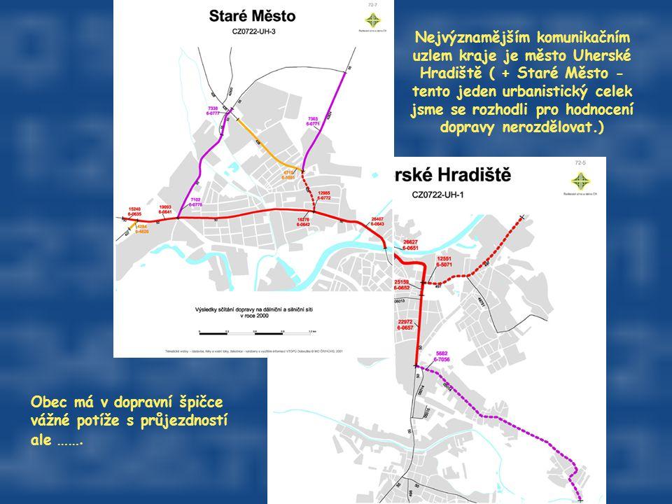 Nejvýznamějším komunikačním uzlem kraje je město Uherské Hradiště ( + Staré Město - tento jeden urbanistický celek jsme se rozhodli pro hodnocení dopr